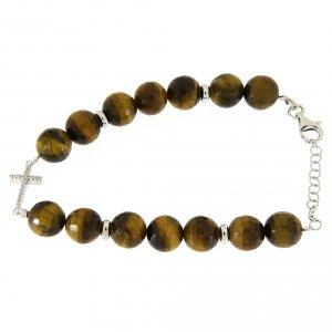 Silver bracelets: Bracelet with 9 mm tiger's eye and white zirconate cross