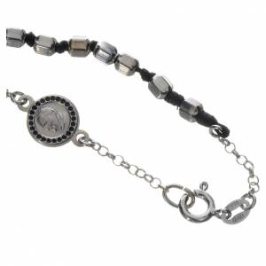 Silver bracelets: Bracelet with Pope Francis in 800 silver, hexagonal grain
