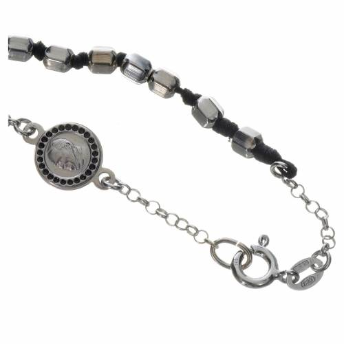 Bracelet with Pope Francis in 800 silver, hexagonal grain s3