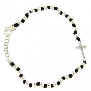 Silver bracelets: Bracelet with silver spheres, black cotton knots and white zirconate cross