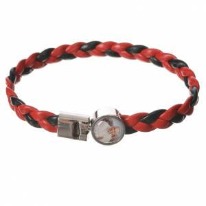 Various bracelets: Braided bracelet, 20cm red and black with Pope Francis
