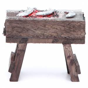 Fireplaces and ovens: Brazier with fish and light, nativity accessory 4x8x7cm
