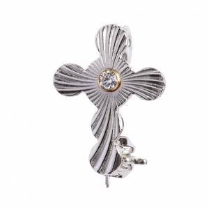 Broche Clergyman: Broche Clergyman cruz esferas plata de ley y zircón