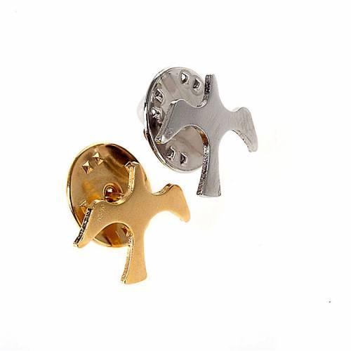 Broche colombe argent, bouton en argent s1