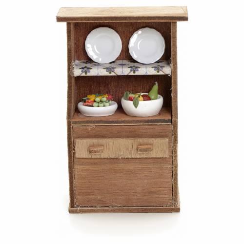 Buffet avec assiettes en miniature pour crèche s1