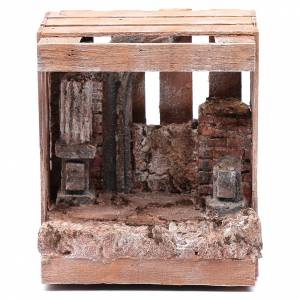 Casas, ambientaciones y tiendas: Cabaña para belén de madera 20x15x15 cm