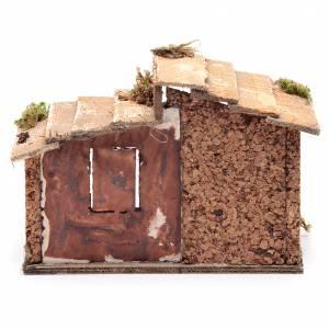 Cabane bois résine liège crèche Naples 15x20x15 cm s4
