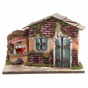 Maisons, milieux, ateliers, puits: Cabane crèche 23x33x18 avec four lampe effet flamme
