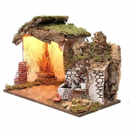 Cabane crèche illuminée 36x50x26 cm avec moulin à eau s2