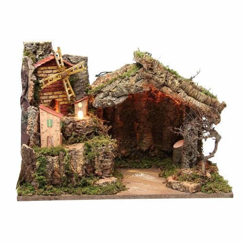 Cabane illuminée crèche 37x26x50 cm avec moulin à vent bourgade s1