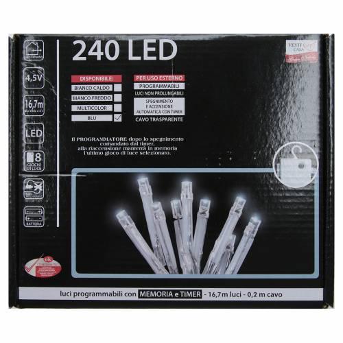 Cadena de luces de Navidad 240 LED azules programables con batería para exterior s3
