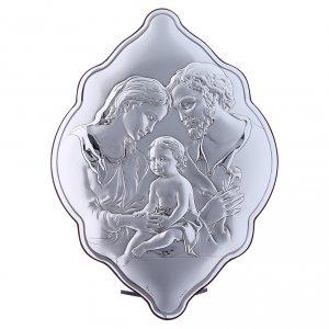Bas reliefs en argent: Cadre amande 31x21 cm en bi-laminé avec arrière en bois massif Sainte Famille