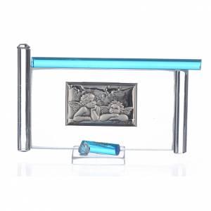 Bonbonnières: Cadre Anges arg. et verre Murano aigue-marine h 9 cm