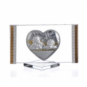 Bonbonnières: Cadre argent avec Coeur et Anges 4,5x7 cm