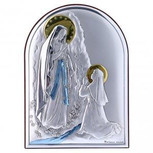 Bas reliefs en argent: Cadre arrondi bi-laminé avec arrière bois massif Notre-Dame de Lourdes 18x13 cm