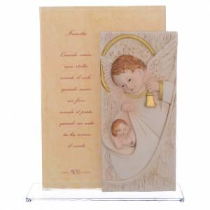 Bonbonnières: Cadre Baptême ange gardien h 17 cm