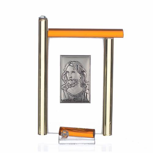 Cadre Christ arg. et verre Murano ambre h 9 cm s1