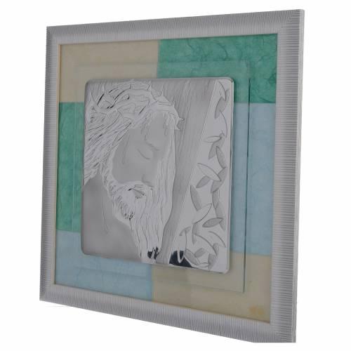 Cadre Christ bleu-vert 33x34 cm s2
