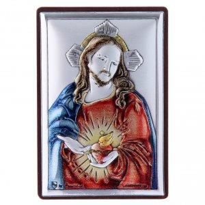 Bas reliefs en argent: Cadre en bi-laminé avec support en bois massif Sacré Coeur de Jésus 6x4 cm