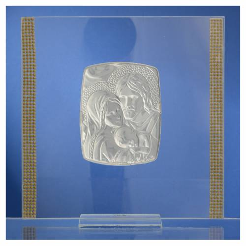 Cadre Mariage Ste Famille Argent et strass 17,5x17,5 cm s4