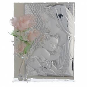 Bonbonnières: Cadre Maternité trois roses verre Murano rose 16x24 cm