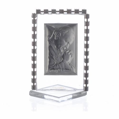 Cadre Pape Jean-Paul II strass 5,5x3,5 cm s2