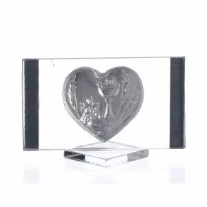 Cadre Rectangulaire avec Coeur Communion 4,5x7 cm s2