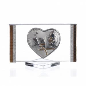 Bonbonnières: Cadre Rectangulaire avec Coeur Confirmation 4,5x7 cm