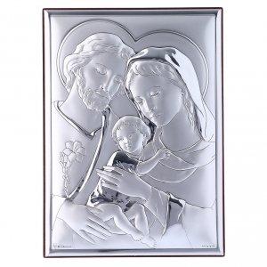Bas reliefs en argent: Cadre rectangulaire Sainte Famille en bi-laminé avec arrière en bois massif 18x13 cm