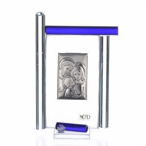 Cadre Ste Famille arg. et verre Murano bleu h 9 cm s1