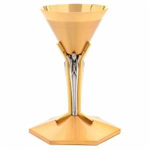 Calici Pissidi Patene metallo: Calice conico ottone dorato Angeli