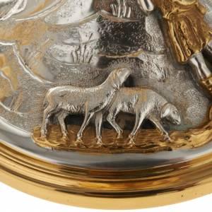 Calice e pisside ottone cesellato Buon Pastore s10