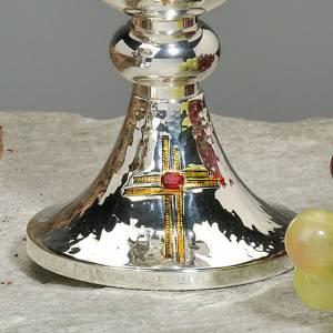 Calice e pisside ottone martellato cesellato a mano croce vetro s3