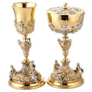 Calices Ciboires Patènes en métal: Calice en argent et ciboire doré argenté 3 Putti