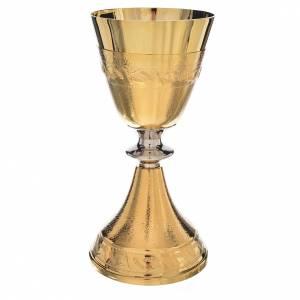 Cálices, Copones y Patenas metal: Cáliz con copa de plata de ley, espigas de trigo
