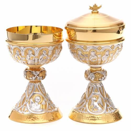 Cáliz y Copón de plata 800 con apóstoles y evangelistas s1