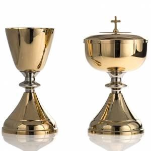 Cálices, Copones y Patenas metal: Cáliz y copón liso 17 cm alto