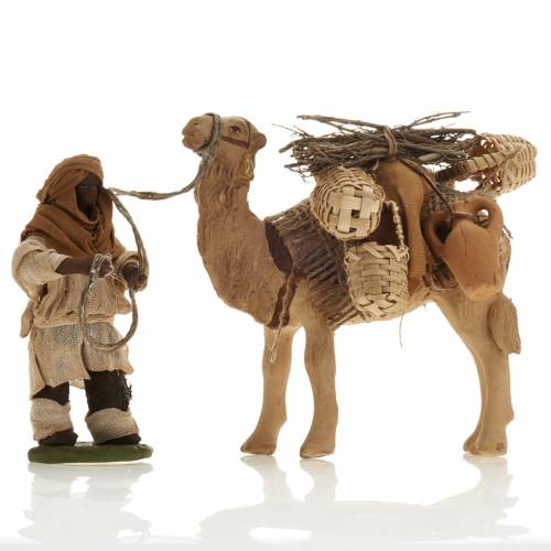 Camel with man, standing, Neapolitan nativity figurine 10cm s1