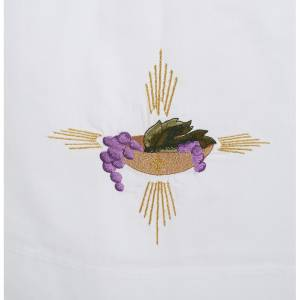 Camice bianco cotone patena uva spighe s2