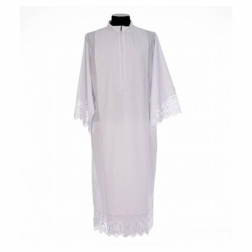 Camice bianco piegoni e merletto con calice misto cotone s1