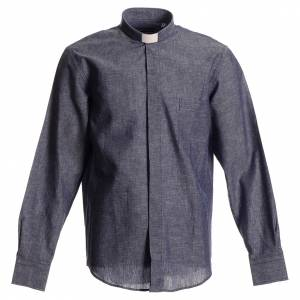 Camicie Clergyman: Camicia clergy lino cotone blu