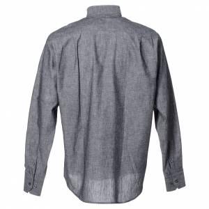 Camicie Clergyman: Camicia clergy lino cotone grigio manica lunga