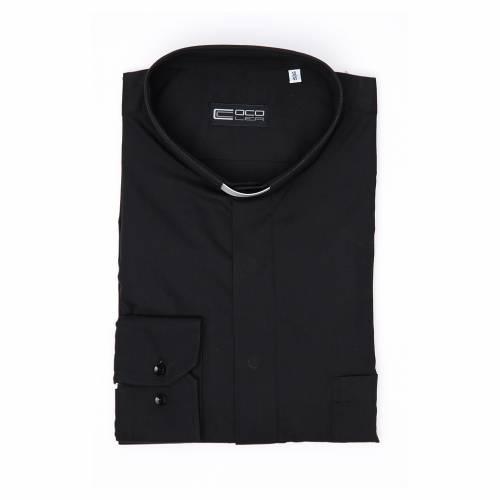 Camicia clergy M. Lunga Facile stiro Spigato Misto cotone Nero s4