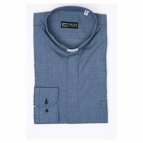 Camicia clergy M. Lunga tinta unita Misto cotone Jeans s3