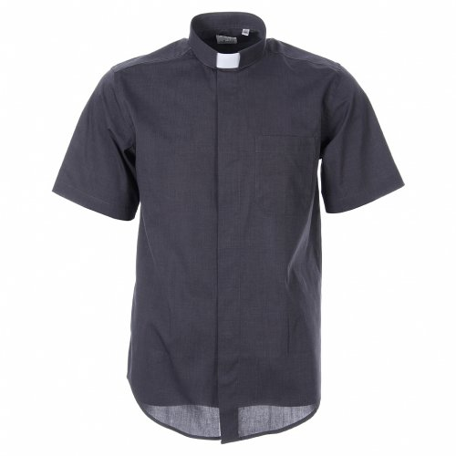STOCK Camicia clergy manica corta filafil grigio scuro s1