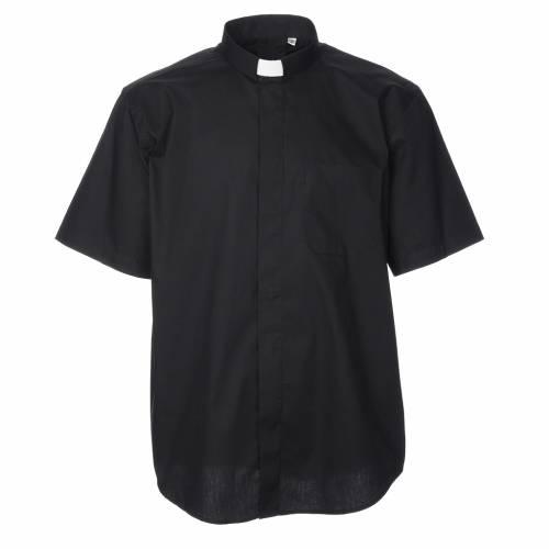 STOCK Camicia clergy manica corta popeline nera s1