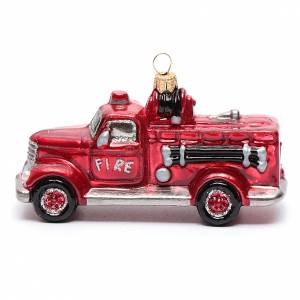 Adornos de vidrio soplado para Árbol de Navidad: Camión de Bomberos adorno vidrio soplado para Árbol de Navidad