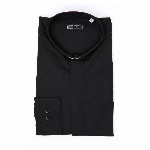 Camisa Clergy Manga Larga Color Uniforme Mixto Algodón Negro s3