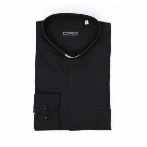 Camisa Clergy Manga Larga Planchado Facil, Mixto Algodón Espigado Negro s4
