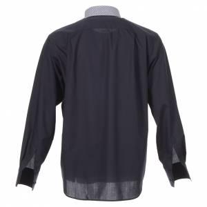 Camisa clergy sacerdote cruces azul manga larga contraste s2